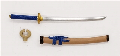 "Samurai Long Katana Sword & Scabbard: TAN with BLUE & GOLD Details - 1:18 Scale Modular MTF Weapon for 3-3/4"" Action Figures"