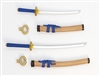 "Samurai Long & Short Sword Set: TAN with BLUE & GOLD Details - 1:18 Scale Modular MTF Weapon for 3-3/4"" Action Figures"