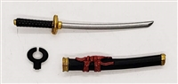 "Samurai Short Wakizashi Sword & Scabbard: BLACK with RED & GOLD Details - 1:18 Scale Modular MTF Weapon for 3-3/4"" Action Figures"