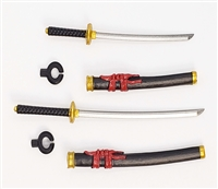 "Samurai Long & Short Sword Set: BLACK with RED & GOLD Details - 1:18 Scale Modular MTF Weapon for 3-3/4"" Action Figures"