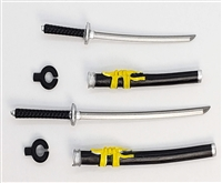 "Samurai Long & Short Sword Set: BLACK with YELLOW & SILVER Details - 1:18 Scale Modular MTF Weapon for 3-3/4"" Action Figures"