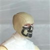 "Male Head: Balaclava TAN Mask with Black ""JAW"" Deco - 1:18 Scale MTF Accessory for 3-3/4"" Action Figures"