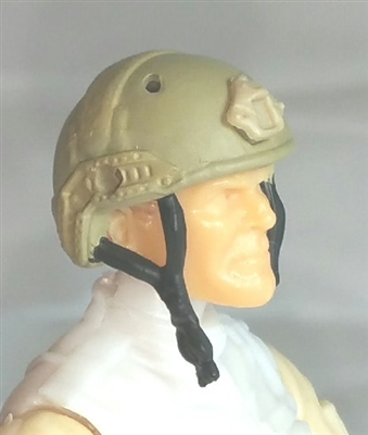 "Headgear: Half-Shell Helmet TAN & Tan Version - 1:18 Scale Modular MTF Accessory for 3-3/4"" Action Figures"