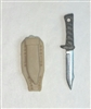 "Fighting Knife & Sheath: Large Size TAN Version - 1:18 Scale Modular MTF Accessory for 3-3/4"" Action Figures"