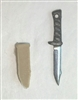 "Fighting Knife & Sheath: Small Size TAN Version - 1:18 Scale Modular MTF Accessory for 3-3/4"" Action Figures"