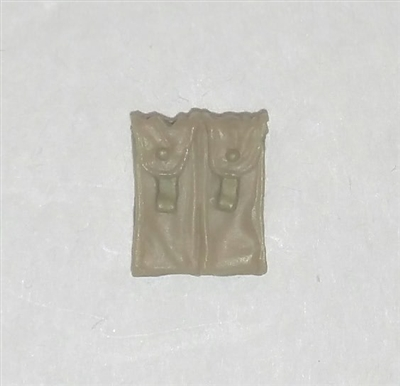 "Ammo Pouch: Double Magazine TAN & Tan Version - 1:18 Scale Modular MTF Accessory for 3-3/4"" Action Figures"