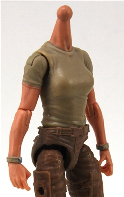 MTF Female Valkyries T-Shirt Torso ONLY (NO WAIST/LEGS): TAN & TAN Version with LIGHT Skin Tone - 1:18 Scale Marauder Task Force Accessory
