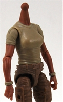 MTF Female Valkyries T-Shirt Torso ONLY (NO WAIST/LEGS): TAN & TAN Version with TAN Skin Tone - 1:18 Scale Marauder Task Force Accessory