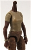 MTF Female Valkyries T-Shirt Torso ONLY (NO WAIST/LEGS): TAN & TAN Version with DARK Skin Tone - 1:18 Scale Marauder Task Force Accessory