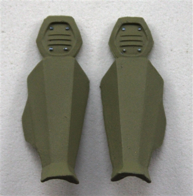 "Female Shin Armor: TAN Version - Left & Right (Pair) - 1:18 Scale Modular MTF Valkyries Accessory for 3-3/4"" Action Figures"