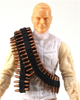 "Ammo Belt Bandolier: DARK BRASS CARTRIDGE Version - 1:18 Scale Modular MTF Accessory for 3-3/4"" Action Figures"