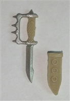 "Knuckle Knife with Sheath: Small Size TAN Version - 1:18 Scale Modular MTF Accessory for 3-3/4"" Action Figures"