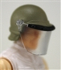 "Headgear: Swat RIOT Helmet with Visor ""Face Shield"" TAN Version - 1:18 Scale Modular MTF Accessory for 3-3/4"" Action Figures"