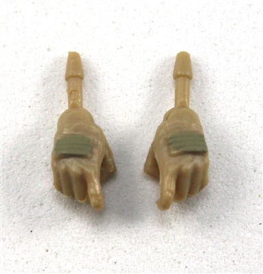 "Female Hands: Tan Gloves with Tan Pads - Right AND Left (Pair) - 1:18 Scale MTF Valkyries Accessory for 3-3/4"" Action Figures"
