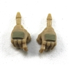 "Male Hands: Tan Gloves with Tan Pad - Right AND Left (Pair) - 1:18 Scale MTF Accessory for 3-3/4"" Action Figures"