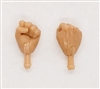 "Male Hands: Fists ""Clenched"" Hands with Light Skin Tone - Right AND Left (Pair) - 1:18 Scale MTF Accessory for 3-3/4"" Action Figures"