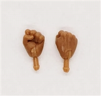 "Male Hands: Fists ""Clenched"" Hands with Tan Skin Tone - Right AND Left (Pair) - 1:18 Scale MTF Accessory for 3-3/4"" Action Figures"