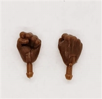 "Male Hands: Fists ""Clenched"" Hands with Dark Skin Tone - Right AND Left (Pair) - 1:18 Scale MTF Accessory for 3-3/4"" Action Figures"