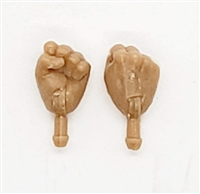 "Male Hands: Fists ""Clenched"" Hands with LIGHT TAN Skin Tone - Right AND Left (Pair) - 1:18 Scale MTF Accessory for 3-3/4"" Action Figures"