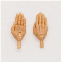 "Male Hands: Saluting ""Karate"" Hands with Light Skin Tone - Right AND Left (Pair) - 1:18 Scale MTF Accessory for 3-3/4"" Action Figures"