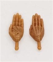 "Male Hands: Saluting ""Karate"" Hands with Tan Skin Tone - Right AND Left (Pair) - 1:18 Scale MTF Accessory for 3-3/4"" Action Figures"