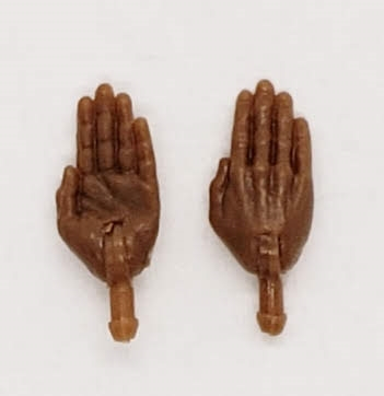 "Male Hands: Saluting ""Karate"" Hands with Dark Skin Tone - Right AND Left (Pair) - 1:18 Scale MTF Accessory for 3-3/4"" Action Figures"