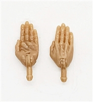 "Male Hands: Saluting ""Karate"" Hands with LIGHT TAN Skin Tone - Right AND Left (Pair) - 1:18 Scale MTF Accessory for 3-3/4"" Action Figures"