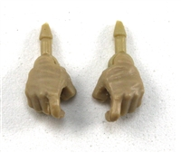 "Male Hands: Tan Full Gloves Right AND Left (Pair) - 1:18 Scale MTF Accessory for 3-3/4"" Action Figures"