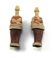 "Male Forearms: Bare with Tan Camo Rolled Up Sleeves Dark Skin Tone - Right AND Left (Pair) - 1:18 Scale MTF Accessory for 3-3/4"" Action Figures"