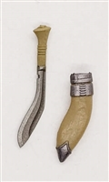 "Kukri Knife & Sheath: TAN Version - 1:18 Scale Modular MTF Accessory for 3-3/4"" Action Figures"