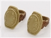 "Knee Pads with Strap TAN & BROWN Version (PAIR) - 1:18 Scale Modular MTF Accessory for 3-3/4"" Action Figures"