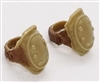 "Elbow Pads with Strap TAN & Brown Version (PAIR) - 1:18 Scale Modular MTF Accessory for 3-3/4"" Action Figures"