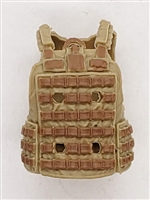 "Male Vest: Utility Type TAN & Brown Version - 1:18 Scale Modular MTF Accessory for 3-3/4"" Action Figures"