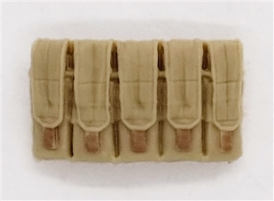 "Ammo Pouch: 5 Pocket Magazine Pouch TAN Version - 1:18 Scale Modular MTF Accessory for 3-3/4"" Action Figures"