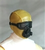 "Male Head: Mask with Goggles & Breather DARK TAN & Black Version - 1:18 Scale MTF Accessory for 3-3/4"" Action Figures"