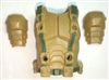 "Male Vest: Armor Type TAN with Green Version - 1:18 Scale Modular MTF Accessory for 3-3/4"" Action Figures"
