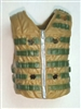 "Male Vest: Tactical Type DARK TAN & Green Version - 1:18 Scale Modular MTF Accessory for 3-3/4"" Action Figures"