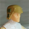 "Headgear: Armor Helmet DARK TAN & Green Version - 1:18 Scale Modular MTF Accessory for 3-3/4"" Action Figures"