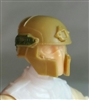 "Headgear: Tactical Helmet DARK TAN & Green Version - 1:18 Scale Modular MTF Accessory for 3-3/4"" Action Figures"