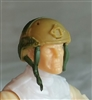 "Headgear: Half-Shell Helmet DARK TAN & Green Version - 1:18 Scale Modular MTF Accessory for 3-3/4"" Action Figures"