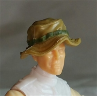 "Headgear: Boonie Hat DARK TAN & Green Version - 1:18 Scale Modular MTF Accessory for 3-3/4"" Action Figures"