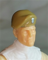 "Headgear: Beret DARK TAN & Green Version - 1:18 Scale Modular MTF Accessory for 3-3/4"" Action Figures"