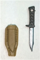 "Fighting Knife & Sheath: Large Size DARK TAN Version - 1:18 Scale Modular MTF Accessory for 3-3/4"" Action Figures"