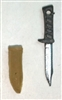 "Fighting Knife & Sheath: Small Size DARK TAN Version - 1:18 Scale Modular MTF Accessory for 3-3/4"" Action Figures"