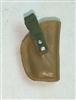 "Pistol Holster: Small  Right Handed DARK TAN & Green Version - 1:18 Scale Modular MTF Accessory for 3-3/4"" Action Figures"