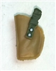 "Pistol Holster: Small Left Handed DARK TAN & Green Version - 1:18 Scale Modular MTF Accessory for 3-3/4"" Action Figures"
