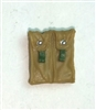 "Ammo Pouch: Double Magazine DARK TAN & Green Version - 1:18 Scale Modular MTF Accessory for 3-3/4"" Action Figures"