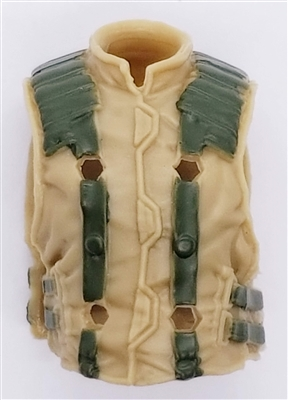"Male Vest: Model 86 Type DARK TAn & GREEN Version - 1:18 Scale Modular MTF Accessory for 3-3/4"" Action Figures"
