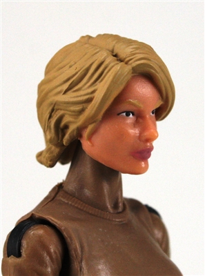 "Female Head:  ""Athena"" Light Skin Tone with Light Brown Long Hair - 1:18 Scale MTF Valkyries Accessory for 3-3/4"" Action Figures"