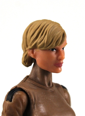 "Female Head:  ""Athena"" Light Skin Tone with Light Brown Short Hair - 1:18 Scale MTF Valkyries Accessory for 3-3/4"" Action Figures"